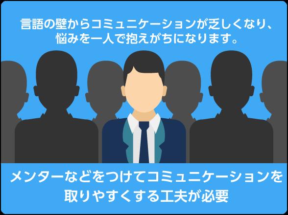 日本人が多い組織の中にいることで相談相手ができづらく、孤立しやすい